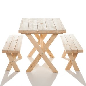 Yazoo Cross Leg Cedar Picnic Table And Benches