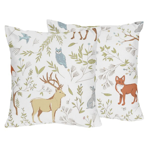 Woodland Toile Cotton Throw Pillow (Set of 2) by Sweet Jojo Designs