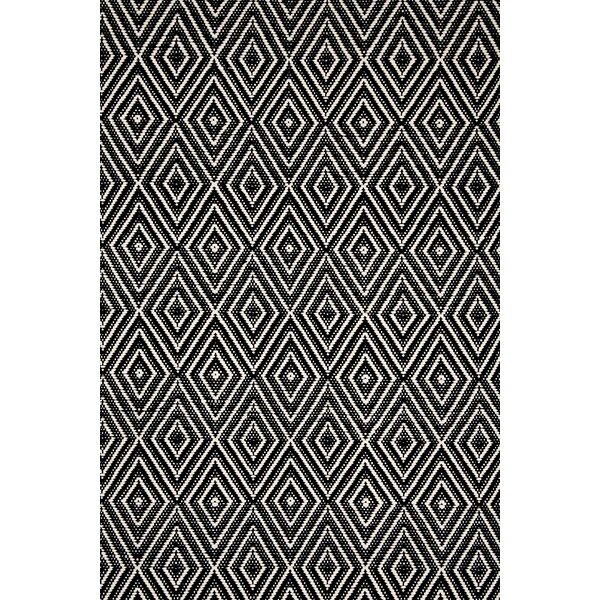 Hand-Woven Black Indoor/Outdoor Area Rug by Dash a