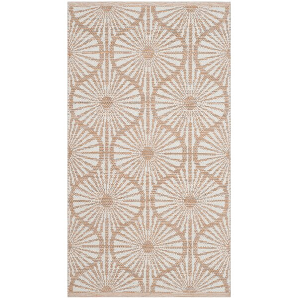 Oak Hill Hand-Woven Orange/Ivory Area Rug by Wrought Studio