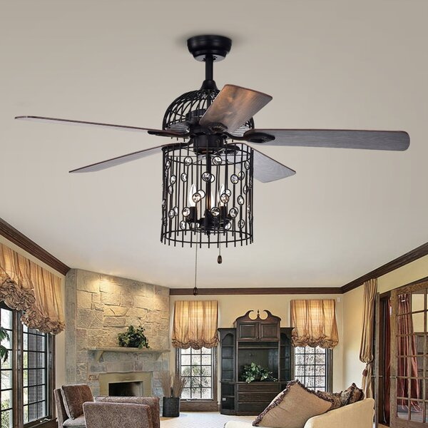 52 Charnley 5 Blade Ceiling Fan with Remote by House of Hampton