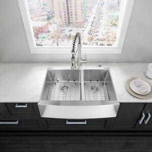 Alma 36 Inch Farmhouse Apron 60/40 Double Bowl 16 Gauge Stainless Steel  Kitchen Sink