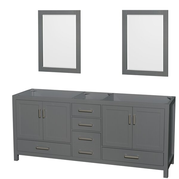 Sheffield 80 Double Bathroom Vanity Base with Mirrors by Wyndham Collection