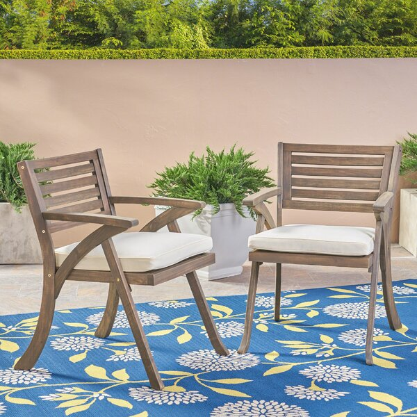 Lonny Patio Dining Chair with Cushion (Set of 2) by Highland Dunes