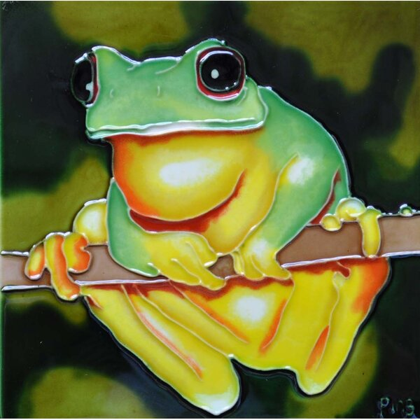 Yellow Belly Frog Tile Wall Decor by Continental Art Center