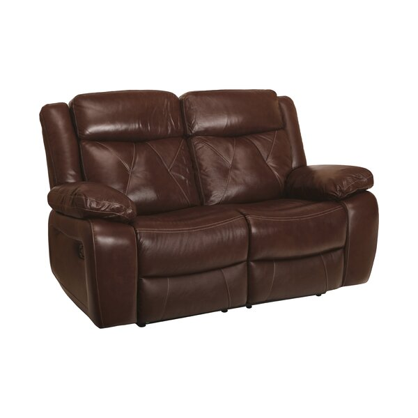 Top Offers Gascon Leather Reclining Loveseat by Red Barrel Studio by Red Barrel Studio