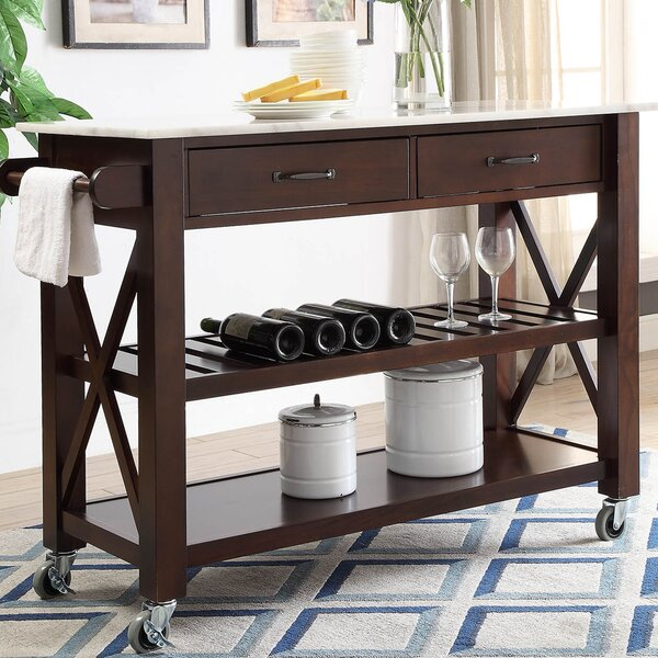 Brycen Kitchen Cart with Marble Top by Charlton Home