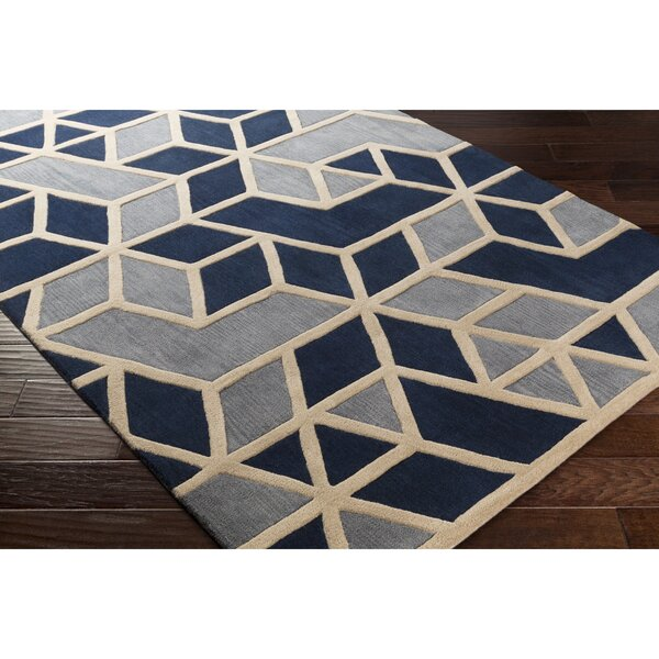 Vaughan Hand-Tufted Blue/Gray Area Rug by Wrought Studio