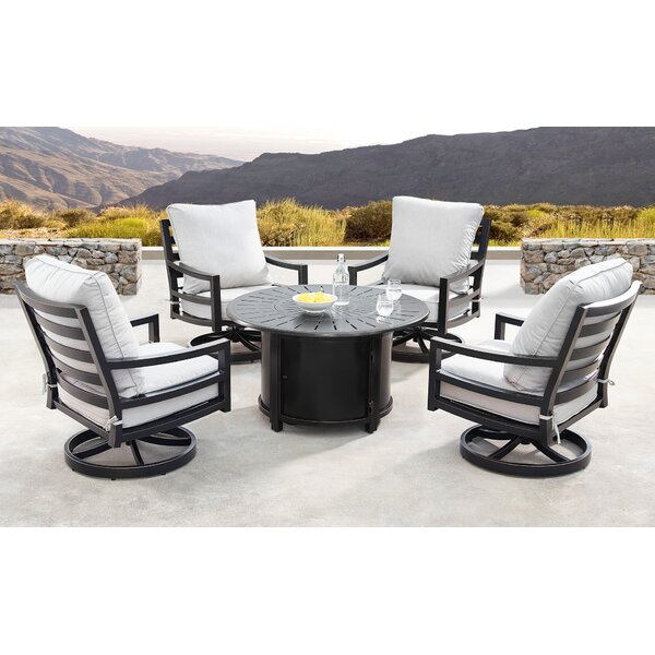 Glendale 5 Piece Dining Set With Cushions And Firepit By Canora Grey