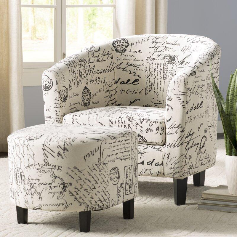 Charlton Home Emory Barrel Chair And Ottoman Amp Reviews