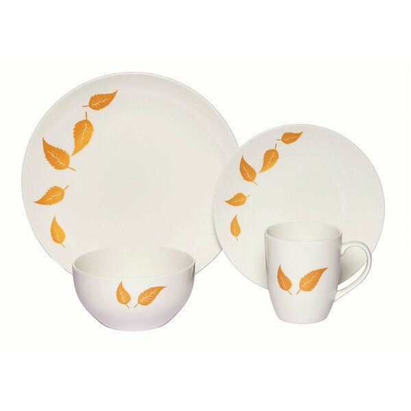 Cerise Leaves Porcelain Coupe 16 Piece Dinnerware Set by Red Barrel Studio