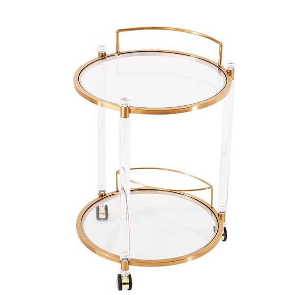 Rosenthal Round Bar Cart By Everly Quinn New