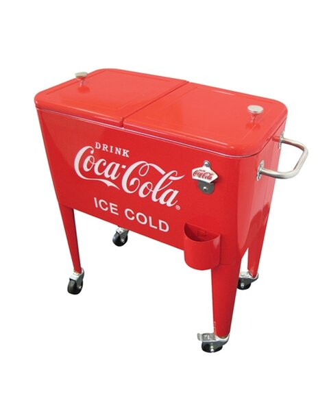 60 Qt. Coca-Cola Ice Cold Heavy Duty Rolling Cooler by Leigh Country