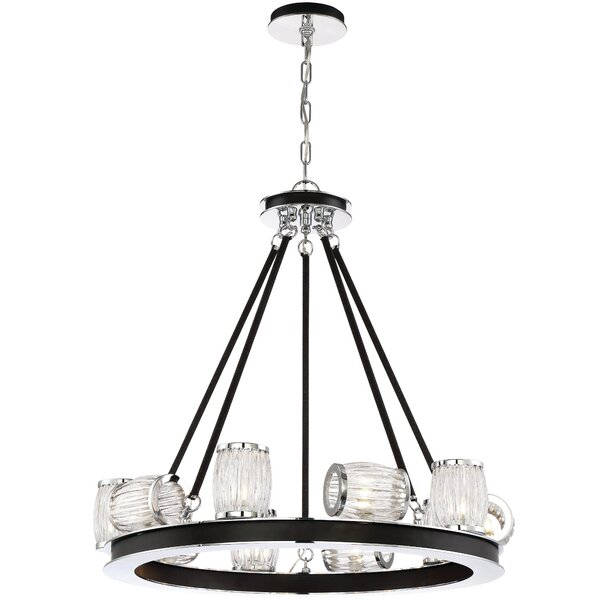 Bronstein 10-Light Unique / Statement Wagon Wheel Chandelier By Latitude Run