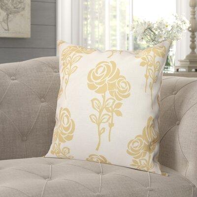 "Auserine Floral Print Throw Pillow Lark Manor Size: 18"" H x 18"" W, Color: Gold"