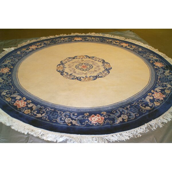One-of-a-Kind Augu Round Super Hand-Knotted Wool Ivory Area Rug by Isabelline