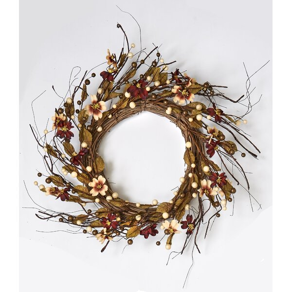 Fall Berry and Dogwood on Natural Twig Base 24 Wreath by August Grove