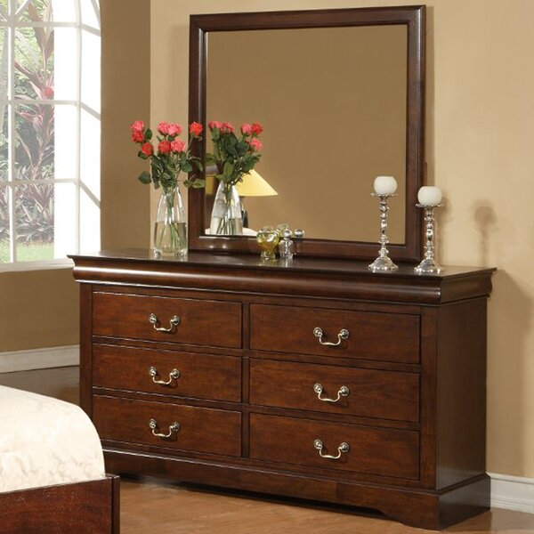 Ferrero 6 Drawer Double Dresser with Mirror by Three Posts