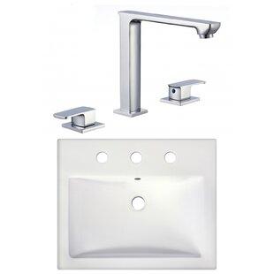 Read Reviews Ceramic Rectangular Vessel Bathroom Sink with Faucet ByAmerican Imaginations