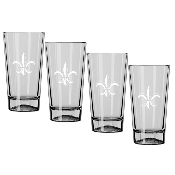 Chumley Fleur de Lis 16 oz. Crystal Pint Glass (Set of 4) by Fleur De Lis Living