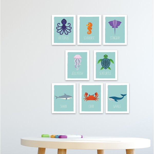 Ruppe 8 Piece Ocean Animals Paper Print Set by Harriet Bee