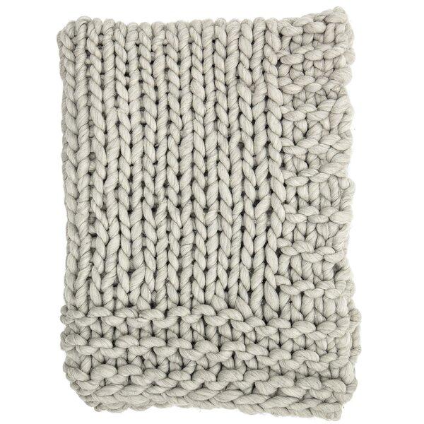 Clotilde Chunky Blend Knit Wool Throw by Gracie Oaks