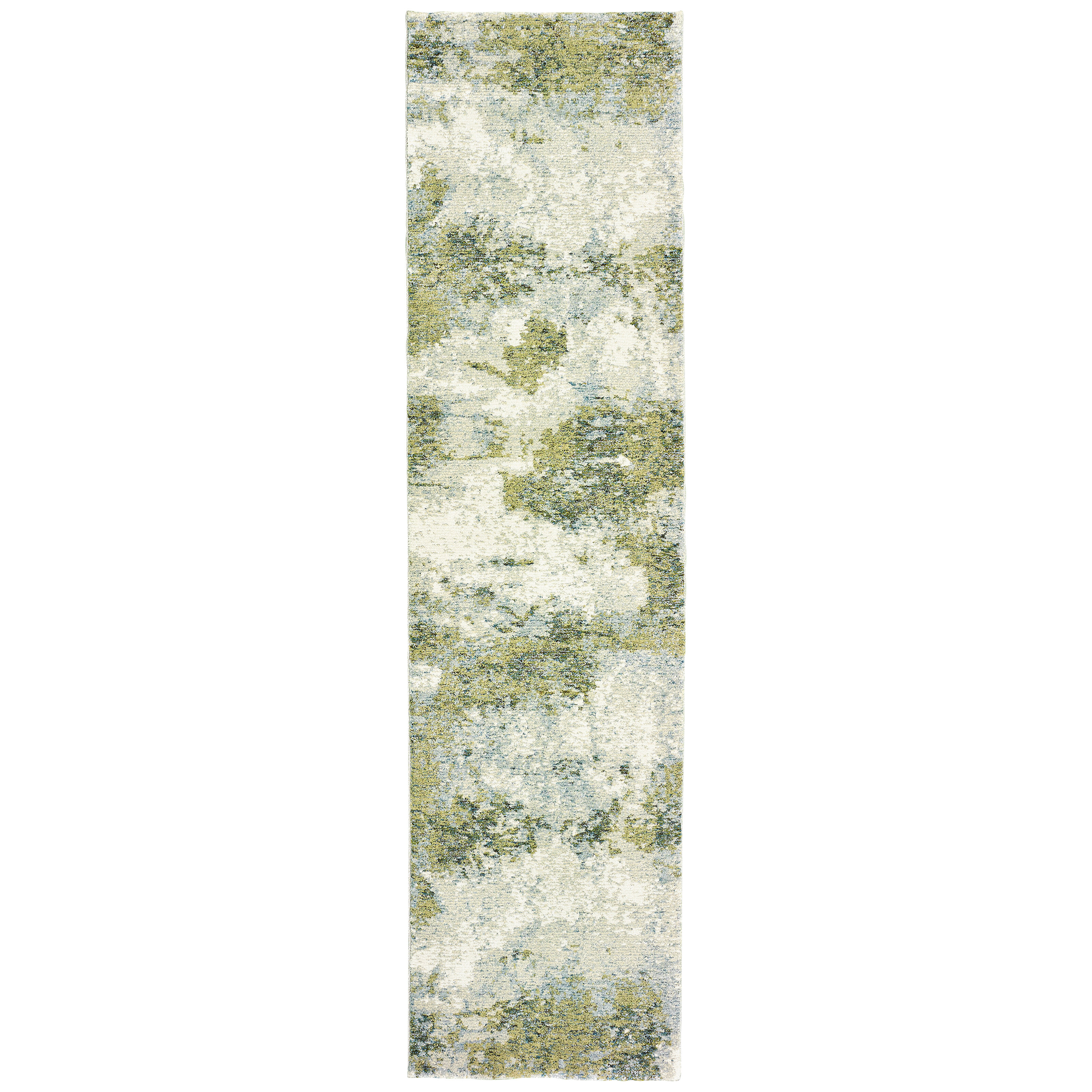 Abstract Flatweave Green White Area Rug