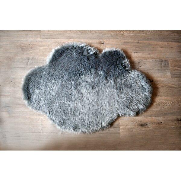 Cloud Faux Sheepskin Gray Area Rug by Kroma Carpets