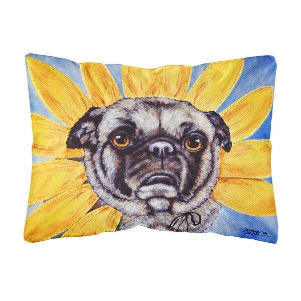 Ruelas Sunflower Pug Fabric Indoor/Outdoor Throw Pillow by Winston Porter