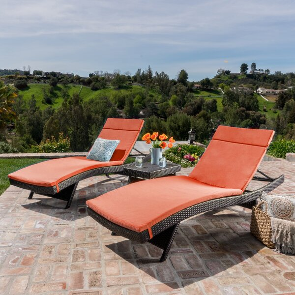 Hans Cagliari 3 Piece Wicker Chaise Lounge Set with Cushion by Brayden Studio