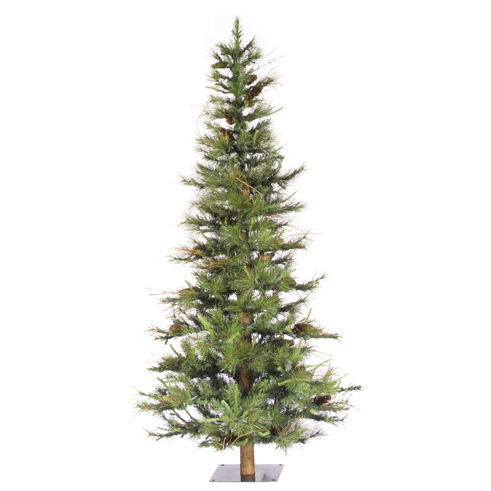 Vickerman Ashland Wood Trunk Tree with Tips An 6\' Green Fir ...