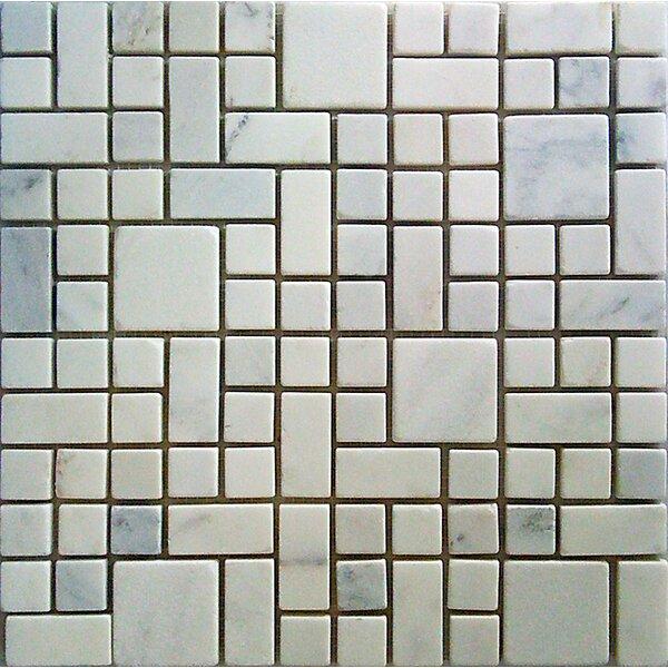 Random Sized Marble Mosaic Tile in White Statuary