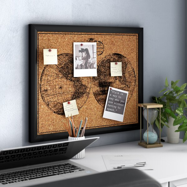 Worldly Cork Wall Mounted Bulletin Board by Three Posts