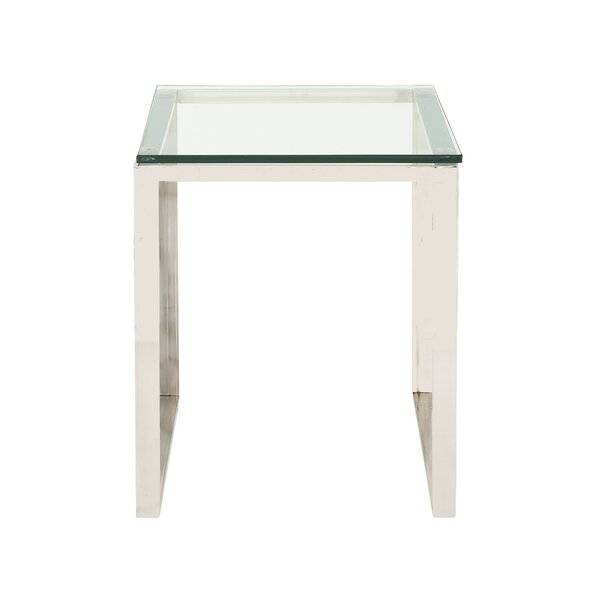 Stainless Steel and Glass End Table by Cole & Grey