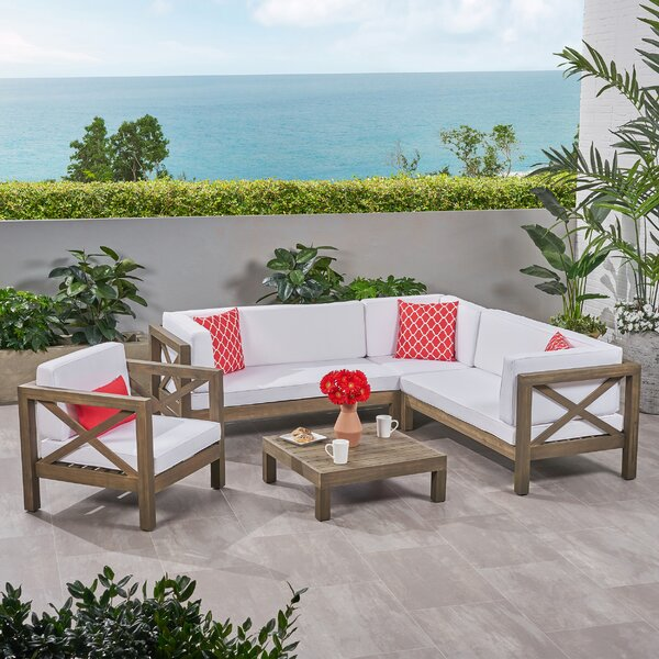Sklar Outdoor 3 Piece Deep Seating Group with Cushions by Breakwater Bay