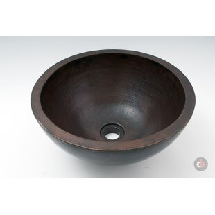 Affordable Double Wall Hammered Copper Metal Circular Vessel Bathroom Sink By Ambiente