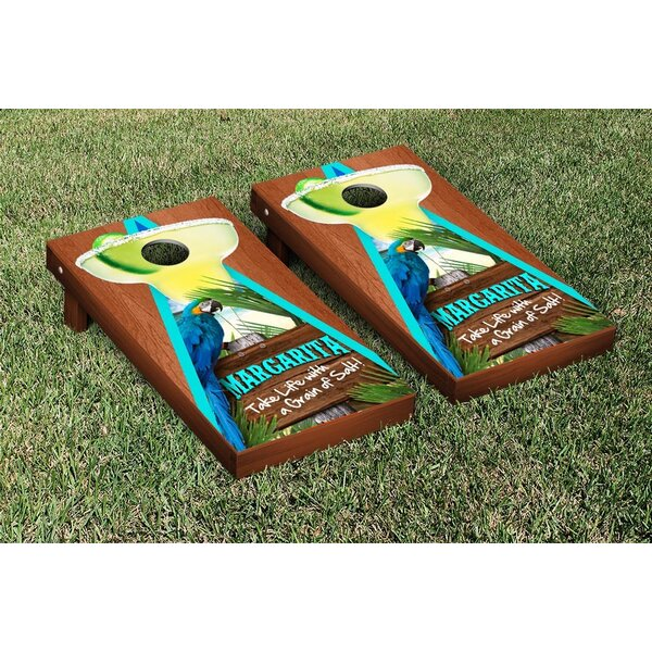 Margarita Beach Themed Rosewood Stained Triangle Version 1 Cornhole Game Set by Victory Tailgate