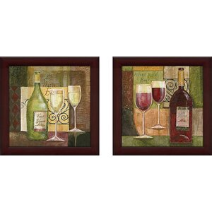 Red Wine Bar' 2 Piece Framed Acrylic Painting Print Set Under Glass by Fleur De Lis Living