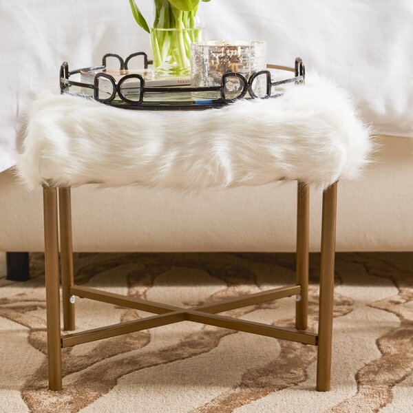 Cajsa Faux Fur Stool by Willa Arlo Interiors