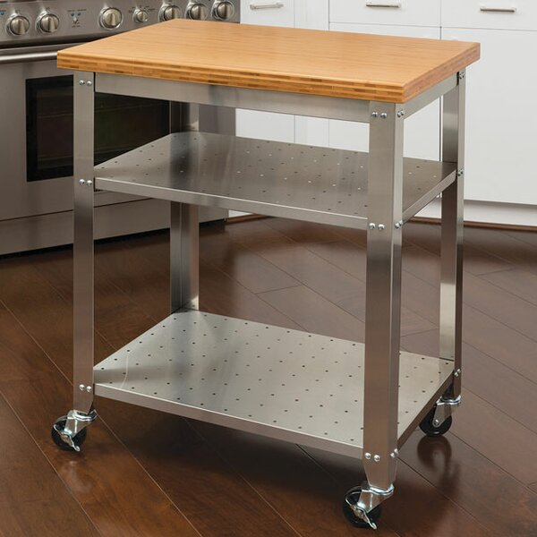 Irene Kitchen Work Table Kitchen Cart with Bamboo Top by Red Barrel Studio