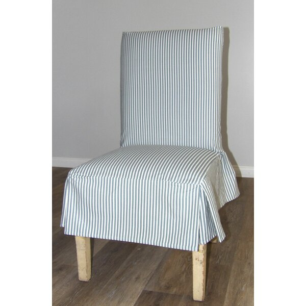 Ticking Stripe Short Box Cushion Dining Chair Slipcover by Rosecliff Heights