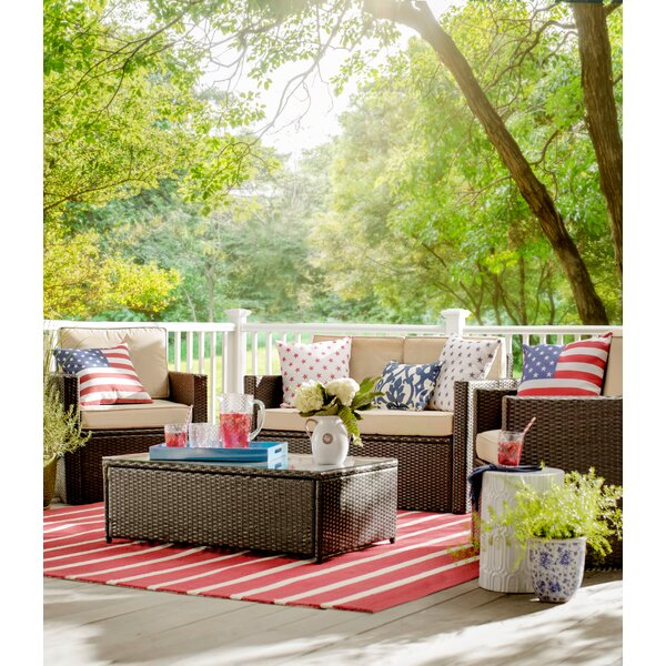 Crosson 4 Piece Rattan Sofa Seating Group with Cushion by Mercury Row