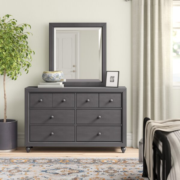 Kennell 6 Drawer Standard Dresser with Mirror by Three Posts