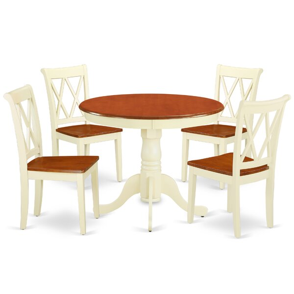 Korbin 5 Piece Solid Wood Breakfast Nook Dining Set by August Grove