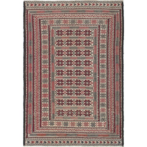 Schacht Hand-Woven Cream/Red Area Rug by World Menagerie