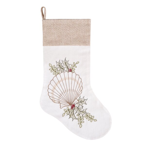 Shells with Holly Cotton Stocking by Highland Dunes