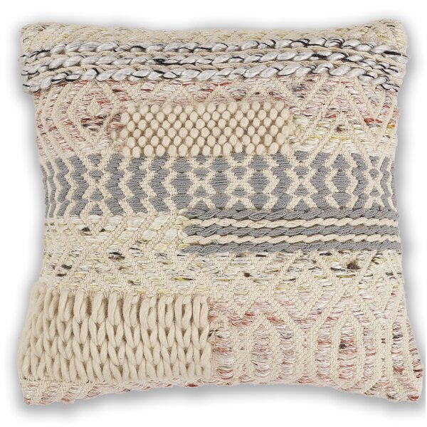 Crosswhite Wool Throw Pillow by Mistana