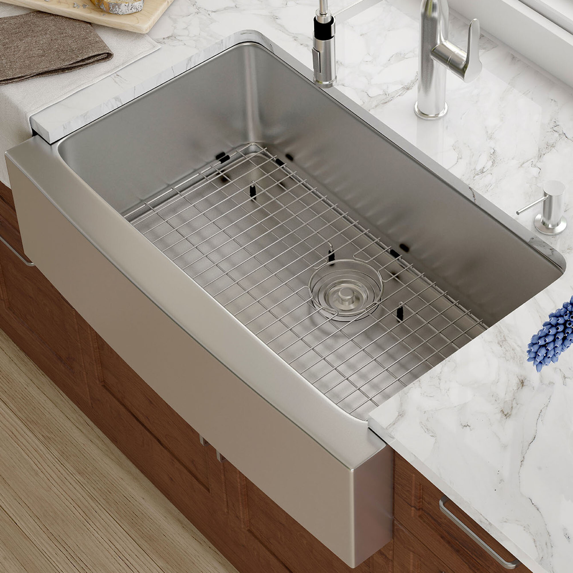 kraus 33   x 21   farmhouse kitchen sink with drain assembly  u0026 reviews   wayfair kraus 33   x 21   farmhouse kitchen sink with drain assembly      rh   wayfair com