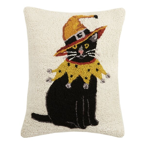 Mcgray Cat with Witch Hat Hook Wool Lumbar Pillow by The Holiday Aisle