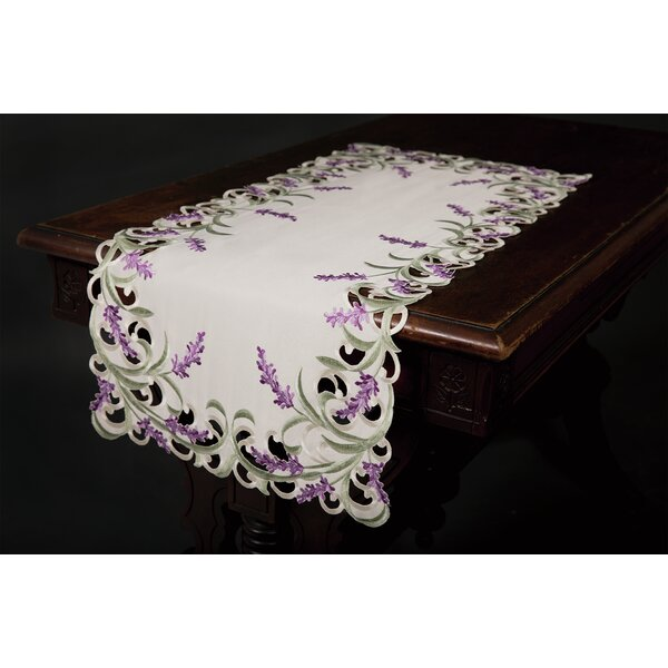 Mehul Lavender Lace Embroidered Cutwork Table Runner by Ophelia & Co.